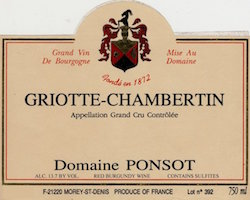 PONSOT GRIOTTE CHAMBERTIN 1993