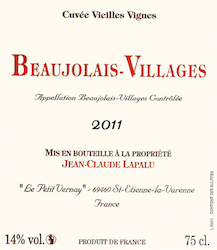 J. CLAUDE LAPALU BEAUJOLAIS VILLAGE VV 2013
